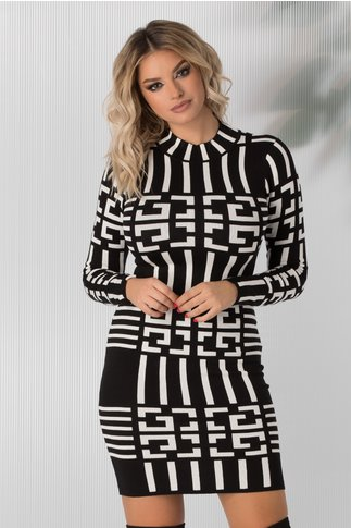 Rochie Reena neagra cu imprimeu labirint alb