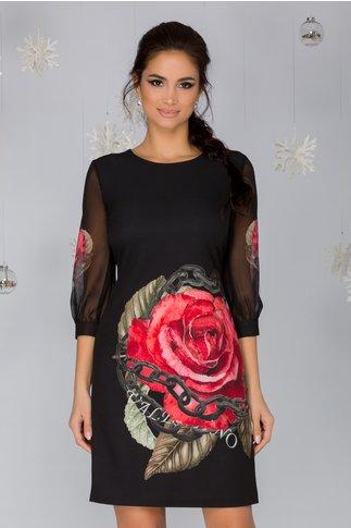 Rochie Renata neagra cu trandafiri maxi