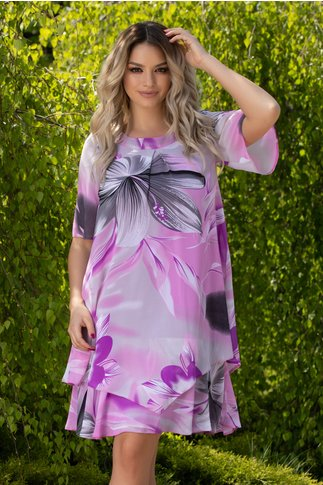 Rochie Reya lila cu imprimeu floral maxi