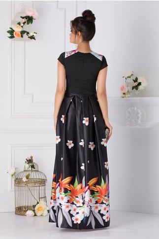 Rochie Rhona lunga neagra cu imprimeu floral colorat