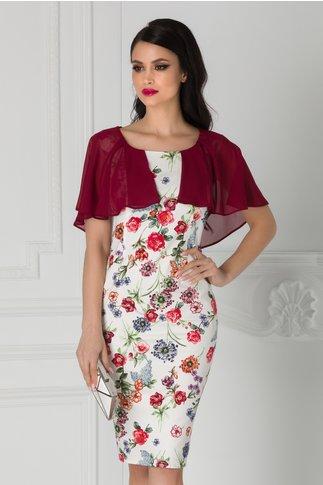 Rochie Roxy alba cu imprimeu floral rosu