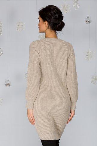 Rochie Sabrina bej tricotata cu model pe bust