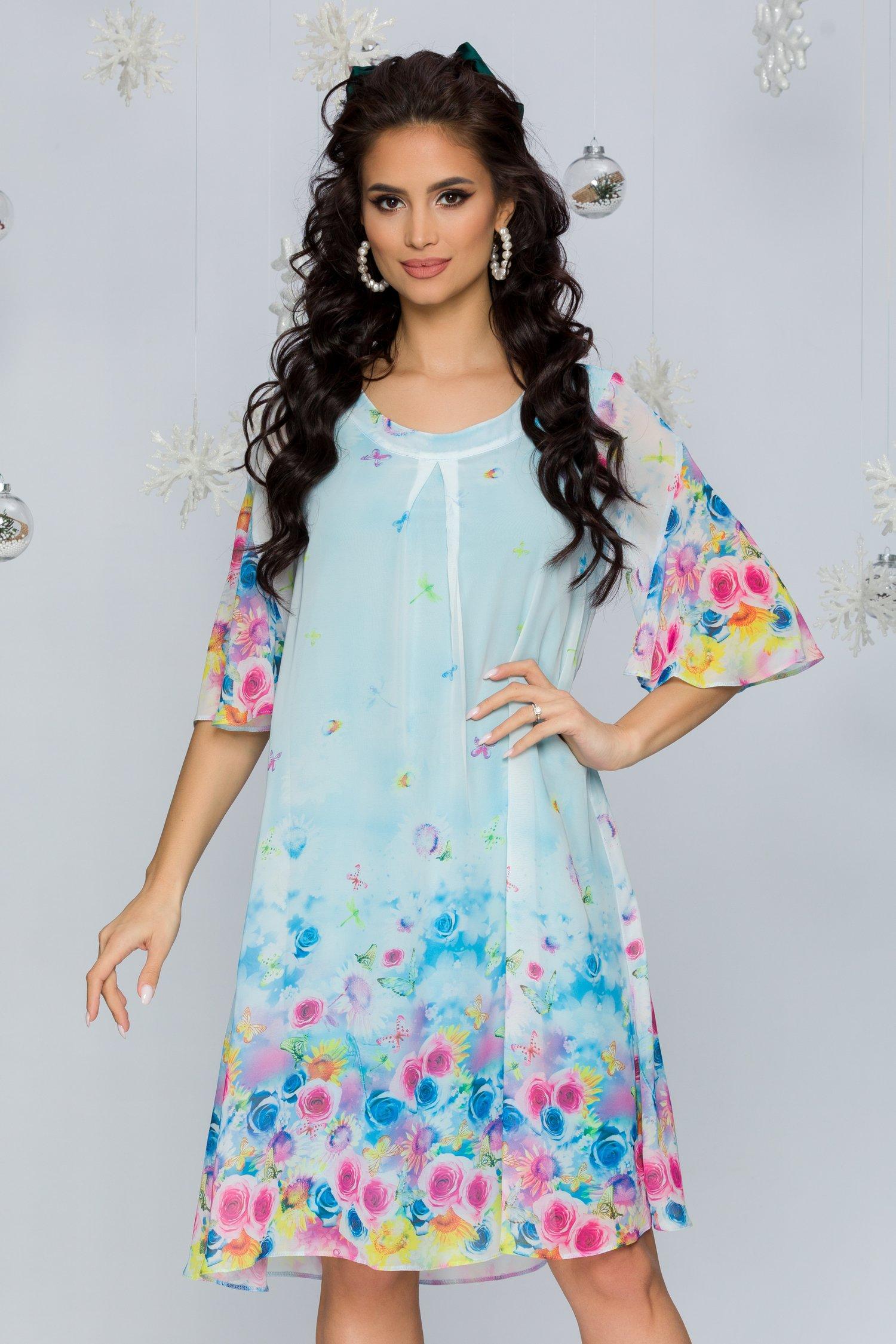 Rochie Sabrina bleu cu imprimeuri florale si fluturi