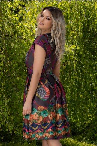 Rochie Sabrina cu imprimeu divers