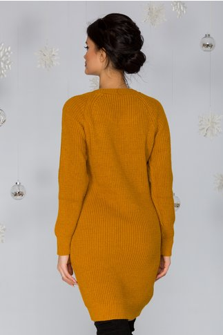 Rochie Sabrina galben mustar tricotata cu model pe bust