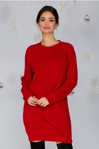 Rochie Sabrina rosie tricotata cu model pe bust