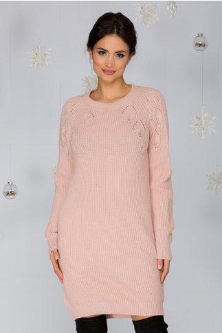 Rochie Sabrina roz tricotata cu model pe bust