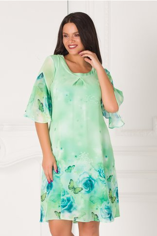 Rochie Sabrina verde cu imprimeu maxi cu trandafiri albastri si fluturi