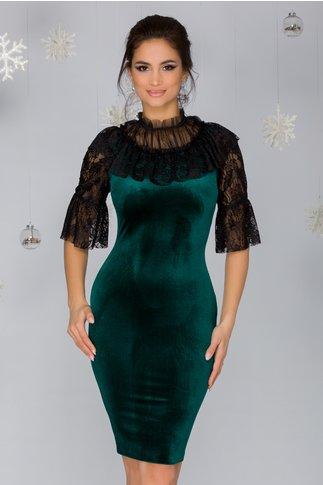 Rochie Sabrina verde din catifea cu dantela la bust si maneci