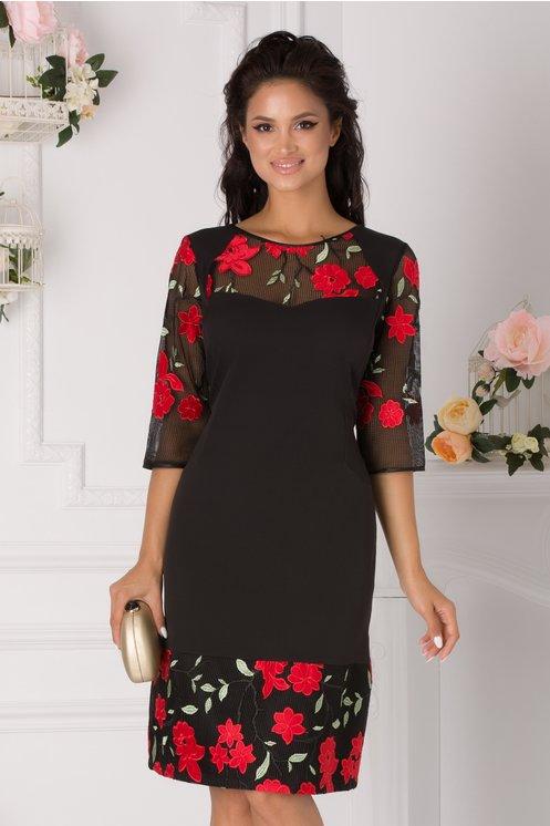 Rochie Sanziana neagra cu insertii florale rosii