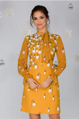 Rochie Spring galben mustar cu imprimeu floral