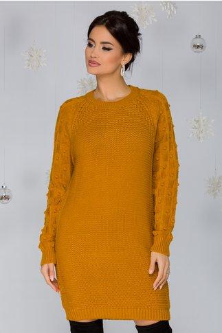 Rochie Tatiana galben mustar tricotata cu model in relief pe maneci