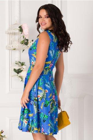 Rochie Timeea albastra cu imprimeu tropical