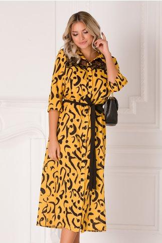 Rochie tip camasa galbena cu imprimeu negru si dantela la bust