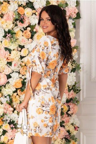 Rochie Tonia alba cu imprimeu floral galben