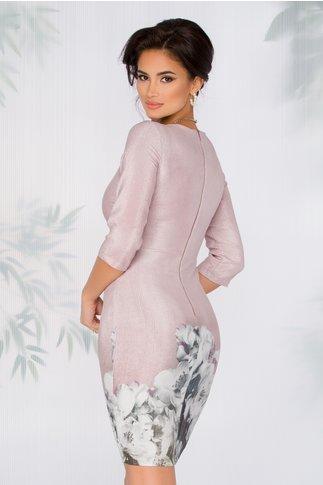 Rochie Vanesa roz prafuit cu fir lurex si imprimeu floral la baza