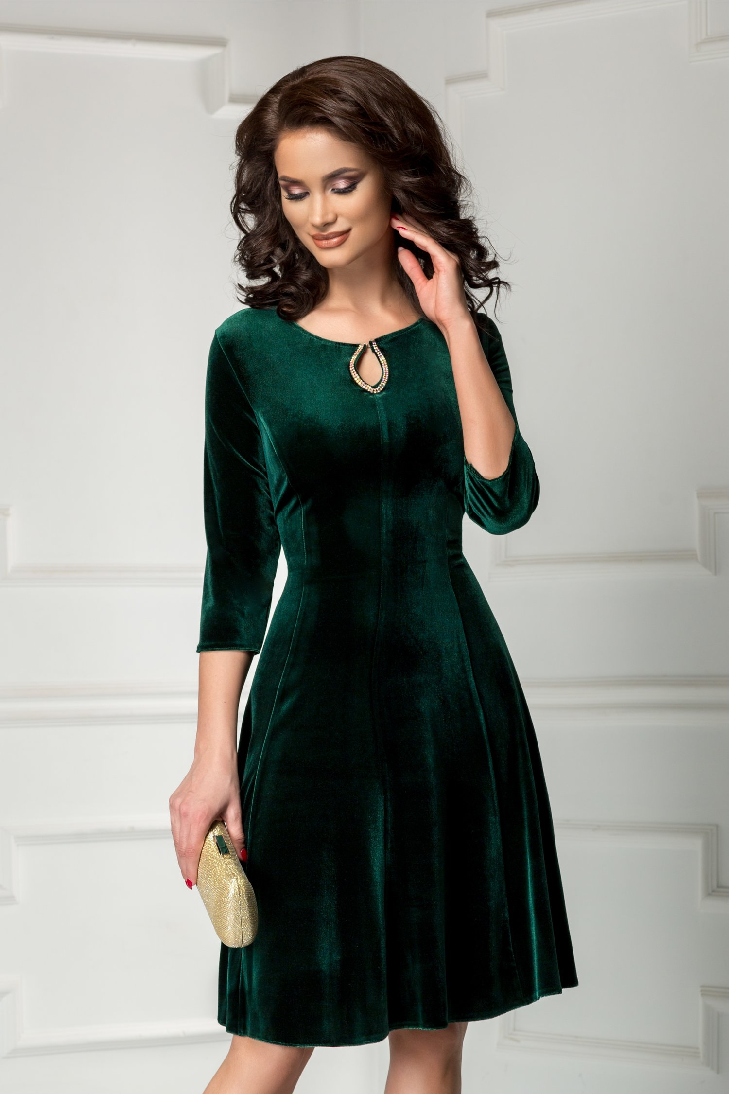 Rochie Velvet de ocazie din catifea verde