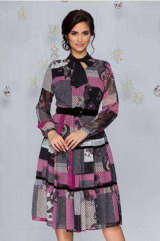 Rochie Vola cu imprimeu divers colorat si insertii catifelate negre