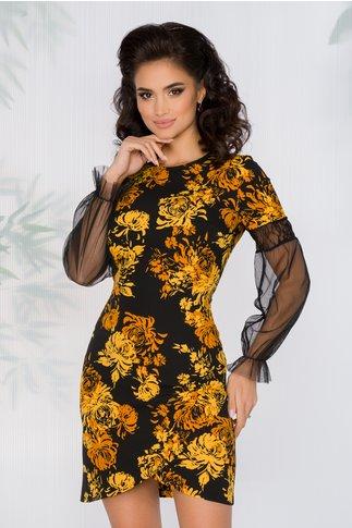 Rochie Whitley neagra cu imprimeu floral in nuante de galben