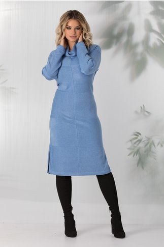 Rochie Ximena bleu cu guler maxi
