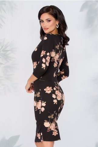 Rochie Yanisia neagra cu imprimeu cu trandafiri in nuante pastelate