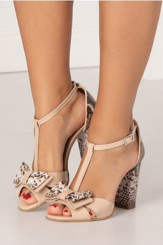 Sandale din piele naturala lacuita roz prafuit cu imprimeu stil piele de sarpe