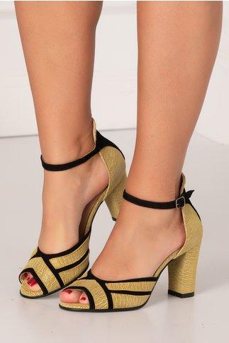 Sandale galbene cu insertii din piele intoarsa neagra si imprimeu cu picatele alb-negru