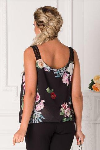 Top Oana negru cu imprimeu floral si bretelute din broderie
