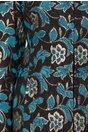 Trench negru cu flori albastre si insertii de fire aurii