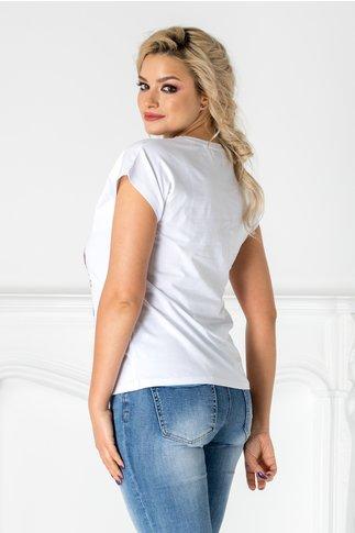 Tricou alb cu buze din paiete