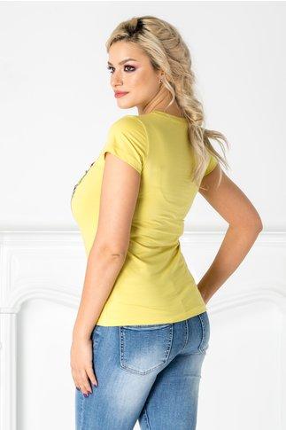 Tricou galben cu inghetata si detalii argintii