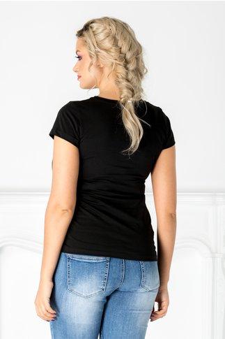 Tricou negru cu inghetata si detalii argintii