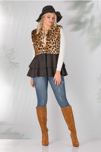 Vesta neagra cu blanita leopard print