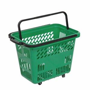 Cos de cumparaturi cu roti si maner 54 litri, Verde