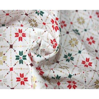 Cotton print - Snowflake Metallic Fair Isle White