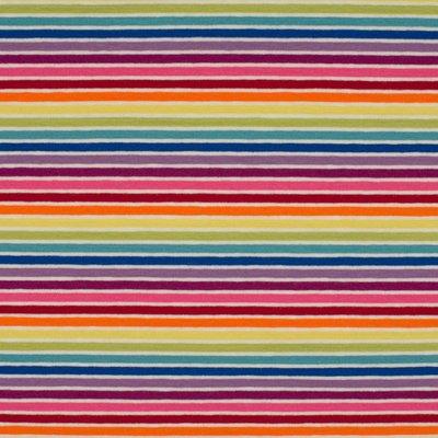 Cotton Printed Jersey- Multicolor Stripes