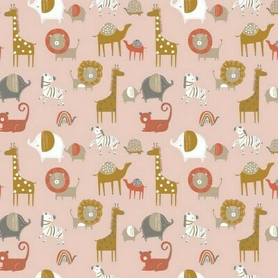 Organic Poplin Printed- Safari Rose