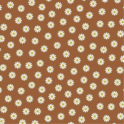 Printed Cotton - Daisy Flower Brique
