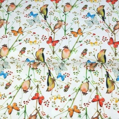 Printed Cotton poplin - Birds and Butterfly Ivory