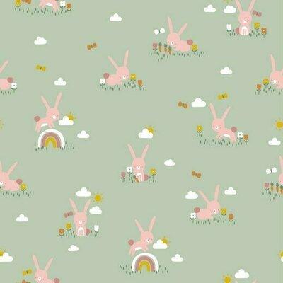 Printed Cotton poplin - Cute Rabbit Mint