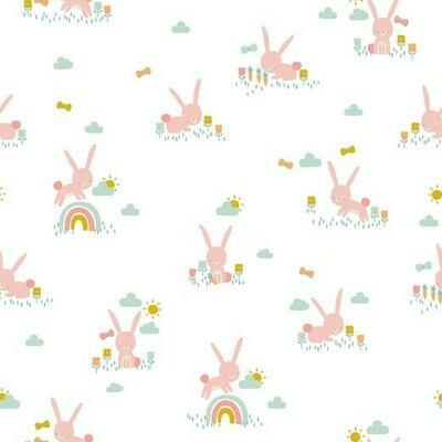 Printed Cotton poplin - Cute Rabbit White