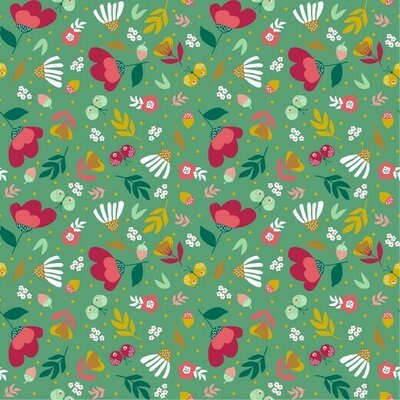 Printed Cotton poplin - Spring Garden Green