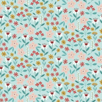 Printed Poplin - Flowers Light Turquoise