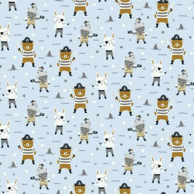 Printed Poplin - Pirates Party Baby Blue