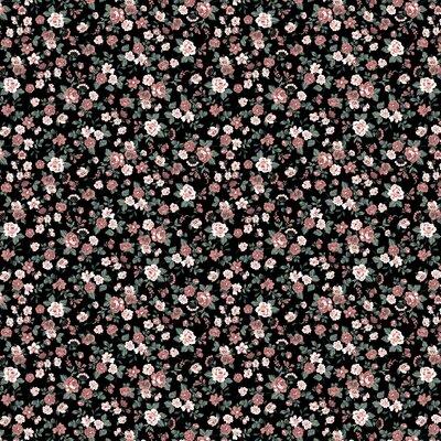 Printed Poplin - Romantic Flowers Black