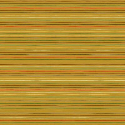 Printed Poplin - Space Stripes Ochre