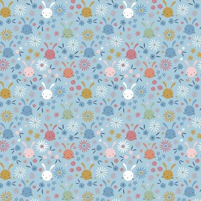 Printed Poplin - Sweet Bunny Light Blue