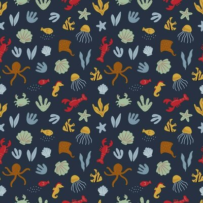 Printed Poplin - Underwater World Navy