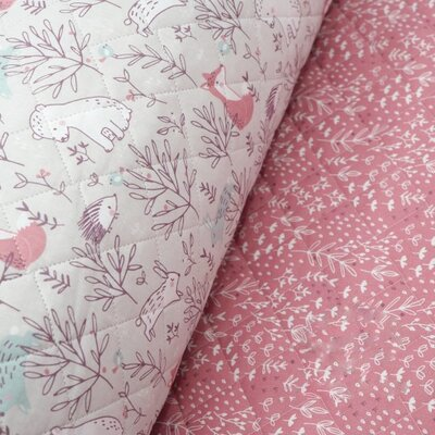 Double sided Quilted Cotton - Silva Framboise