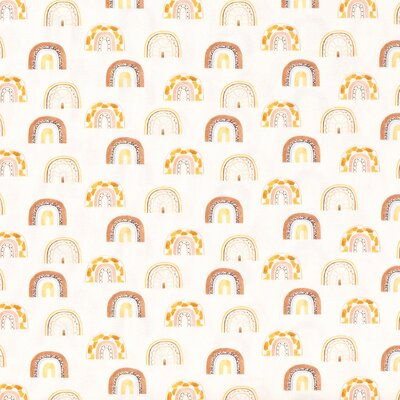 TRICOT FABRIC DIGITAL PRINTED RAINBOW OFF WHITE